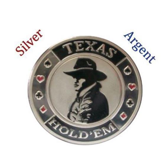 Protecteur de carte Texas Hold'Em Argent